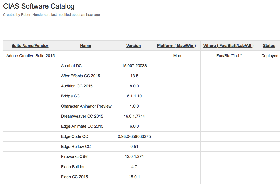 Software Catalog Screenshot