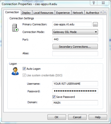 CAD-apps.rit.edu connection settings
