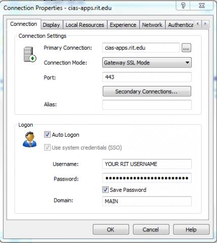 CAD-apps.rit.edu connection settings